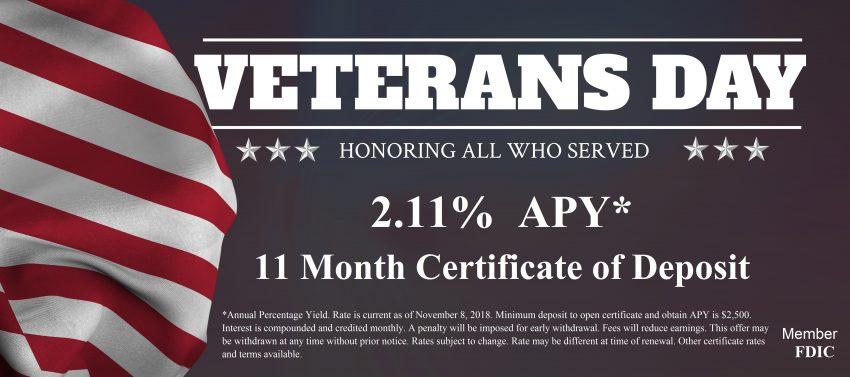 veterans day certificate of deposit